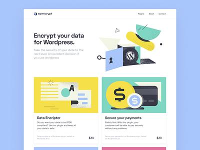 Wpencrypt – Wordpress Plugins landing page website ui design payment gdpr noise secure green yellow colorful illustration wordpress plugin