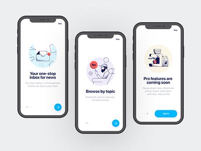 Vincent Onboarding app design vincent launch screens app guided tour walkthroughs ux ui mobile app illustration mobile ios design