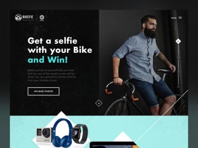 Bikefie Concept contest selfie web design concept hipster noise win bike motion design ux design ui design interaction