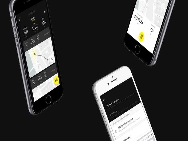 Shoka Bell app - Smart cycling bell concept yellow navigation bike app bike smart bell bell cycling app design concept ui design