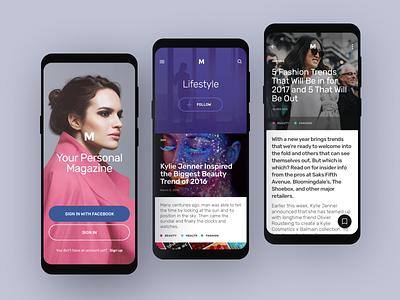 Magazines app fashion topics sign in reading articles magazine app design ui design