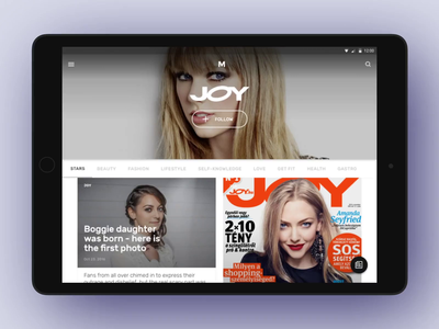 Magazines app – Offline library tablet app tablet fashion dark articles publications offline magazine interaction ui design app design