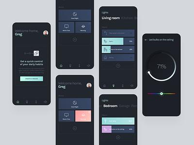 Smarthome app Concept nightmode dark ui application home smart automated macros lights smarthome concept ui design app design