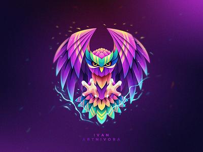 Owl Myth flying fly predator hunting hunter vibrant myth animal owl vector design illustration colorfull bird games designs modern branding logo brand