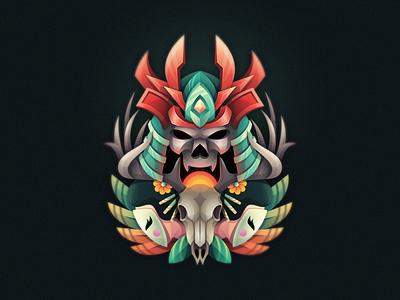 Japanese Myth Illustration mascot antler samurai japan geisha skull mask vector colorfull design illustration esports games modern designs