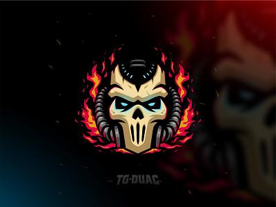 Skull Fire Mask mask twitch stream sport gaming flame fire demon skull illustration masculine esports games icon designs modern branding logo brand