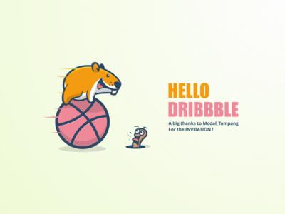 Hello Dribbble hello fun worm hamster cartoon debut