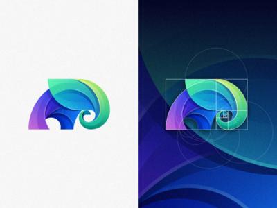 Elephant fibonacci goldenratio grid illustration elephant colorful fun mark designs modern branding logo brand