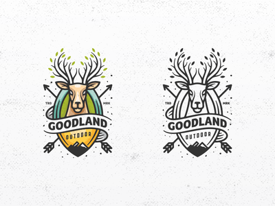 Deer Goodland animal lineart line art archery arrow badge hunting outdoor deer design vector illustration masculine games designs modern branding logo brand