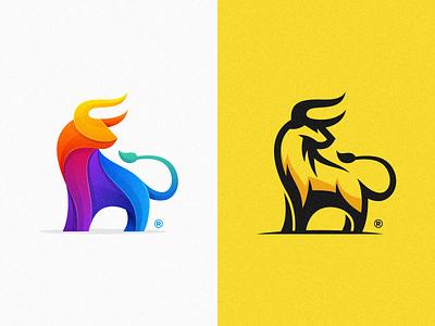Bull design color overlay colorful bull animal mark illustration colorfull games icon designs modern branding logo brand