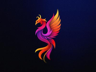 Phoenix vibrant multicolored myth fire animal phoenix colorful bird mark games icon designs modern branding logo brand