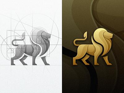 Lion fibonacci golden ratio lion animal vector illustration colorfull masculine mark icon designs modern branding logo brand