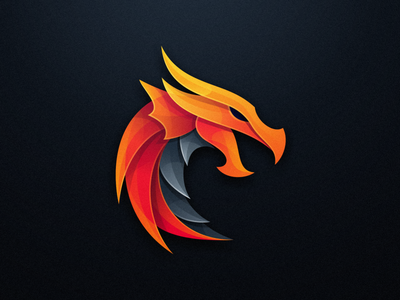 Dragon masculine gradient overlap gaming 3d animal fire dragon colorfull esports mark games icon designs modern branding logo brand