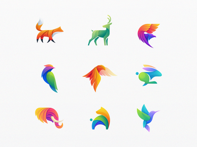 Animal Colorful Logos gradient eagle bear elephant bunny deer buck fox animal design illustration colorful bird mark icon designs modern branding logo brand