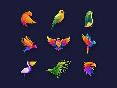 Bird Colorful Logo Collection 3d icon set logopack vector gradient animal colorful colorfull bird mark icon designs modern branding logo brand