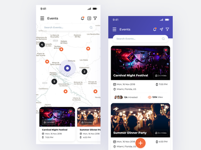 Event App map view list view listing page listing map screen map ui map live event liveevent upcoming events event-ui event ui events event event app ios-design ux ui design app