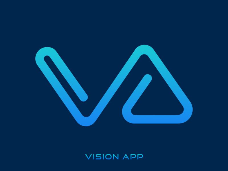 Vision App Logo visa app blue logo illustration typography monogram design monogram logo v letter logo v alphabet logo logo alphabet va logo vector branding logo vector logo logo vision v letter v app v logo
