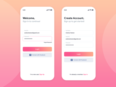 Onboarding- Login/Sign Up