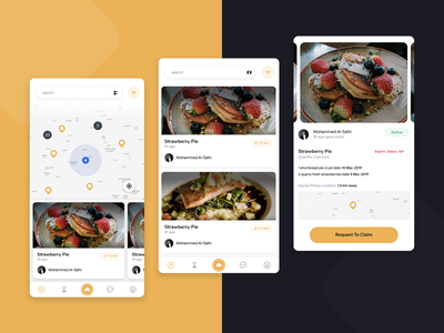 Online Food Donation App yellow theme detail ui detail page map card listing page list view list ui map ui ios app design android app design android app ios ui ios app donation app donation food donation online food food design food app food
