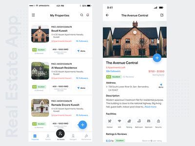 Real Estate App restaurant listing property listing blue theme real estate tab bar ios app ios design list view detail view property app restaurant app restaurant listing card view card listing detail page real estate app realestate broke properties realestate