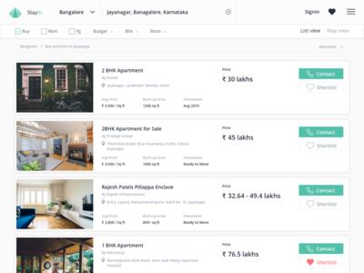 StayIn result page web design real estate website design