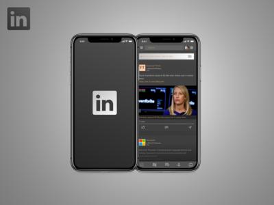 LinkedIn - Dark Theme mock up premium linkedin darktheme visual design conception branding ui
