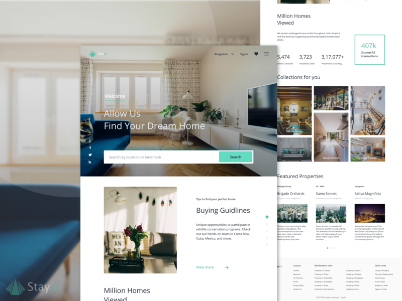 StayIn - landing page grid layout typography ux  ui search bar design realestate landingpage design landing page website visualdesign branding visuals ui conception