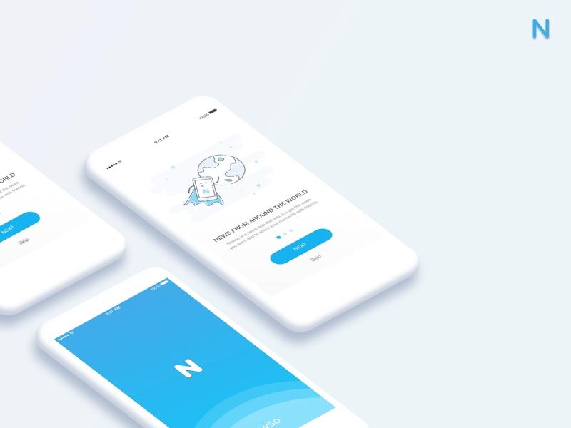 Newso - News app concept logo branding illustration app app concept dribbble best shot ui visualdesign visuals design conception