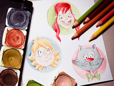 Watercolor and colored pencil characters characters watercolor polychromos cat girl kid children book illustration