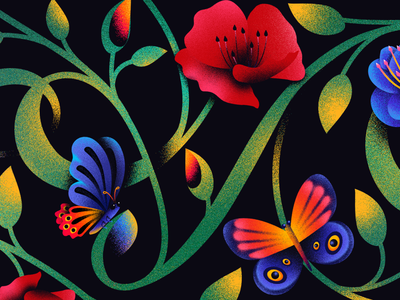 Letter V - 36 days of type anuki texture floral concept illustration typography layout 36daysoftype lettering design