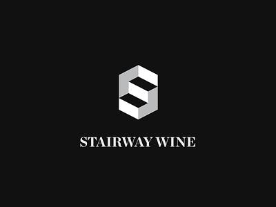 Stairway Wine negative space concept logo vine wine stairway stairs stair