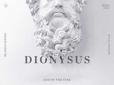 Dionysus - The God of the Vine monument beard grape poster layout editorial manipulation god dionysus statue vine wine