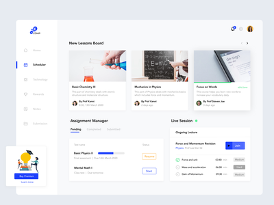 Dasboard design for students lessons educational dashboard ui dashboard design ux ui