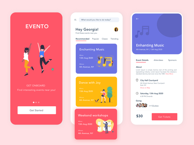 Evento - An Event Booking Application ux app design ui illustration