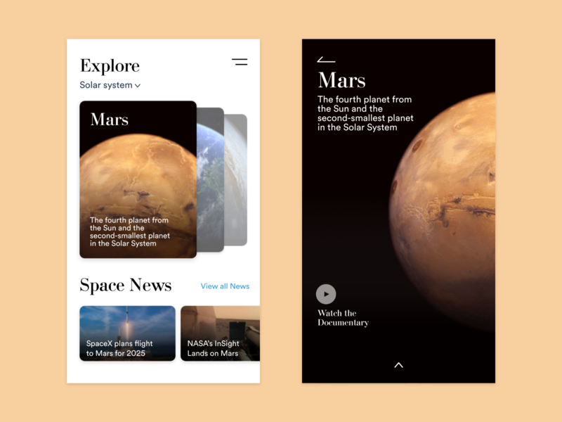 Explore Mars user interface user experience nasa planet adobe xd ux ui space