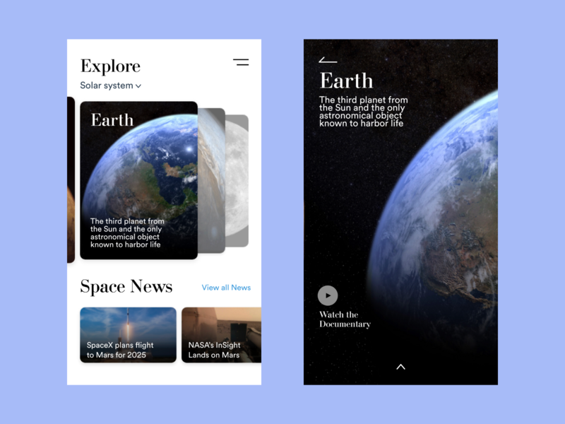 Explore Earth design earth nasa space adobe-xd user interface user experience ux ui