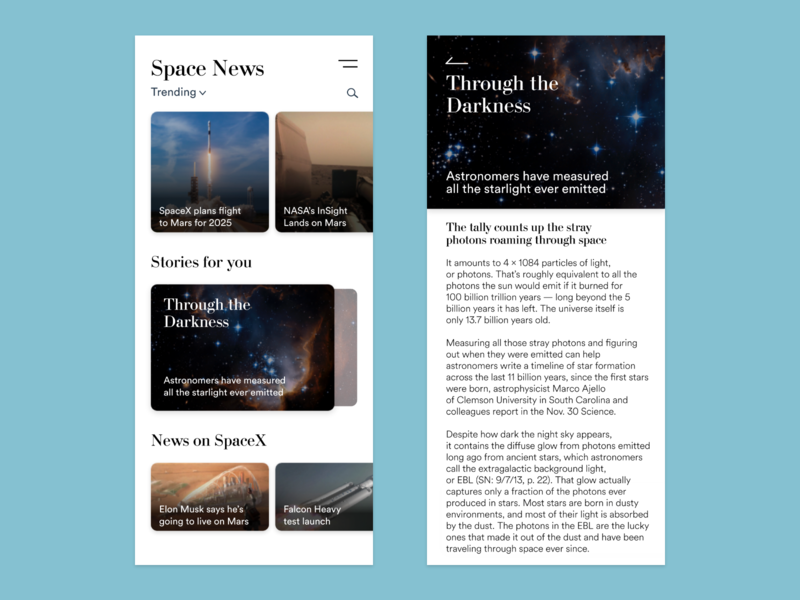 Space News search news feed app news app design space nasa adobe-xd user interface user experience ux ui