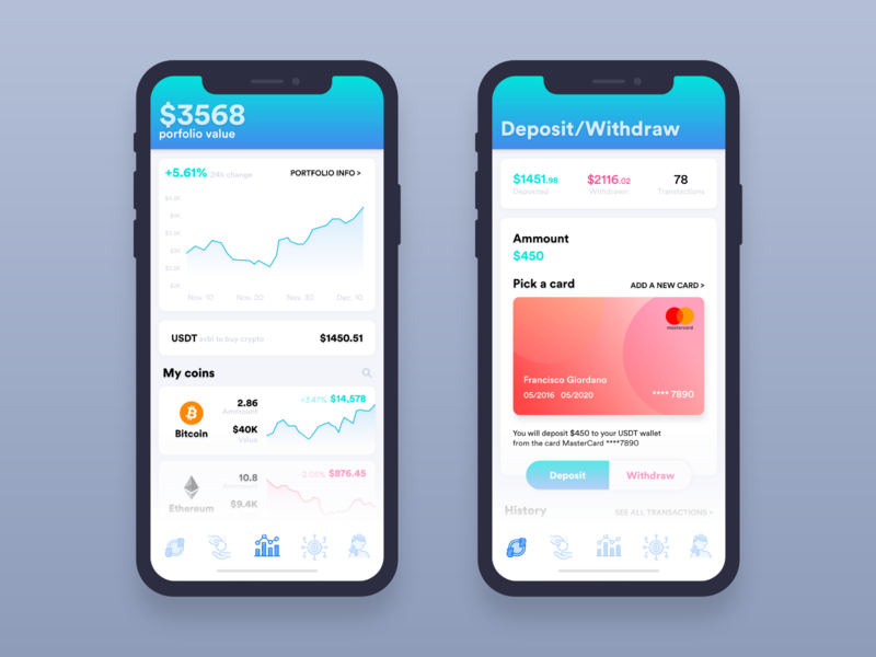 Crypto Wallet | Dashboard & Deposit mockup fintech finance crypto wallet bitcoin design adobe-xd user interface user experience ux ui