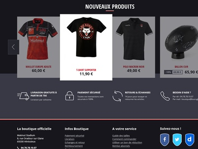 Team Rugby Shop homepage front-end interface website ui sport rugby e-commerce shop e-shop