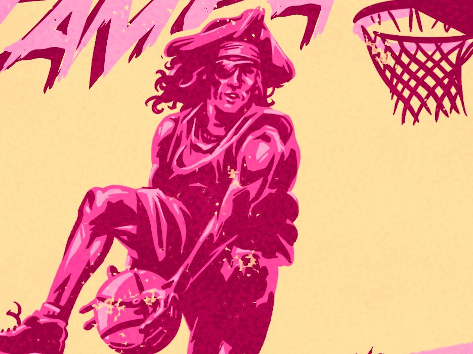 Tampa March Meet Up! basketball slam dunk pirate illustraion florida tampa bay tampa meet up