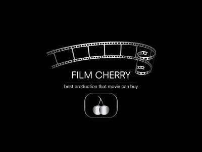 Film Cherry best roll vector typography film logo movie design color cherry tape branding