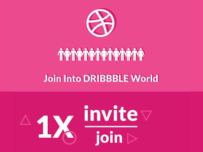 Dribbble 1x Invite world thanks player invite invitation hello giveaway dribbble draft debut chance