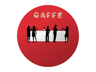 Sign Caffe vector silhouette typography sign caffe logo drink red design color branding
