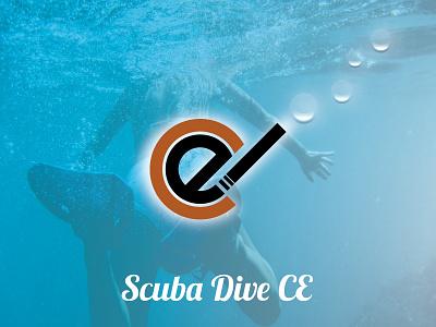 Scuba Dive Ce vector typography bubbles blue logo scuba dive water design color branding