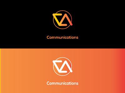 Va Logo vector typography monogram communications logo orange gradiant design color branding