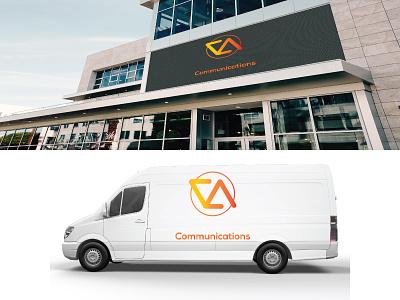 Va Mockup vector typography mockup logo van design monogram color gradient branding advertisement