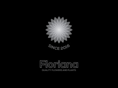Floriana vector typography sign grey logo flowers followers black design color branding