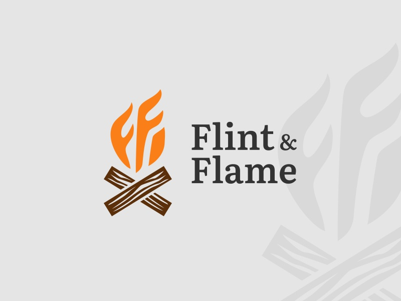 Daily Logo Challenge | Day 010 (Flame) dailylogochallenge wood camping camp fire campfire flintandflame flint flame vector logo concept design challenge concept logo challenge branding identity design logo