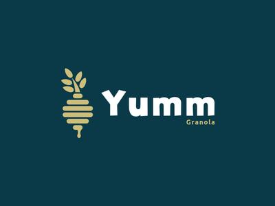 Daily Logo Challenge | Day 021 (Granola Company) beehive honey dipper wheat grain honey yumm granola company granola vector logo concept logo challenge design challenge dailylogochallenge concept identity design branding logo
