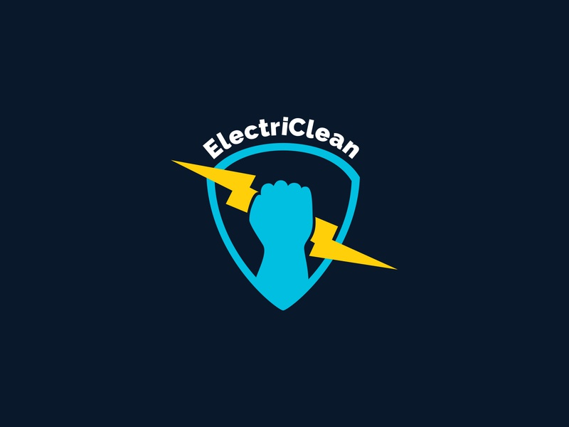 ElectriClean Logo sticker lightning cleaning company cleaning logo design identity design branding logo